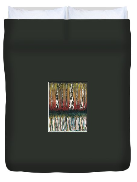 Birch Trees #2 Duvet Cover by Rebecca Childs