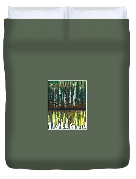 Birch Trees #3 Duvet Cover by Rebecca Childs