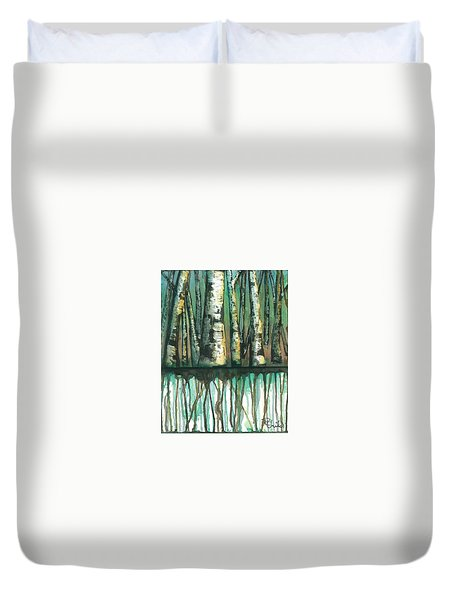 Birch Trees #5 Duvet Cover by Rebecca Childs