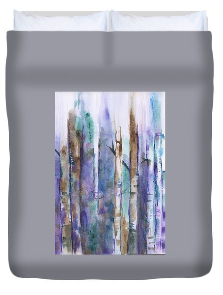 Birch Trees Abstract Duvet Cover