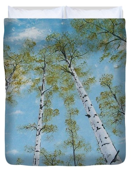 Birch Trees And Sky Duvet Cover