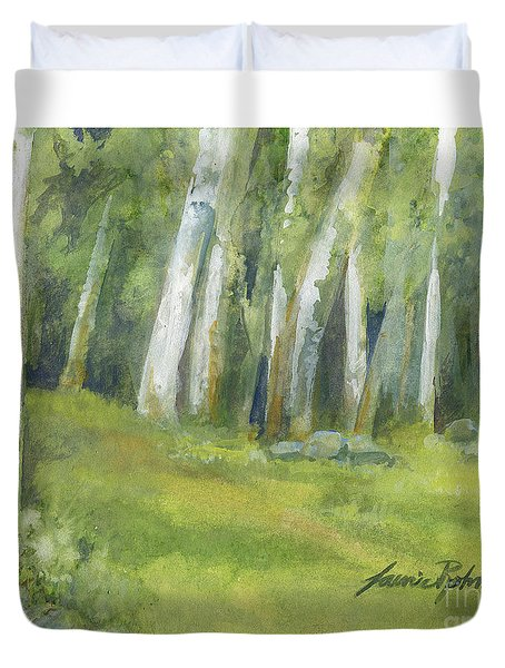Birch Trees And Spring Field Duvet Cover
