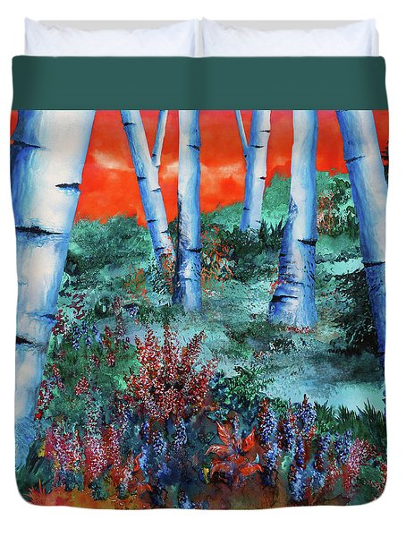Birch Trees At Sunset Duvet Cover by Curtiss Shaffer