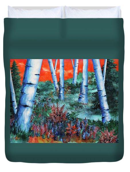Birch Trees At Sunset Duvet Cover