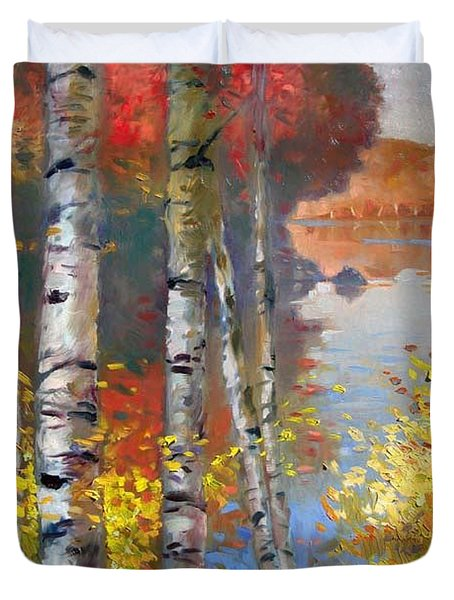 Birch Trees By The Lake Duvet Cover