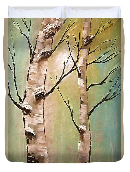 Birch Trees Color Pencil  Duvet Cover by Heinz G Mielke
