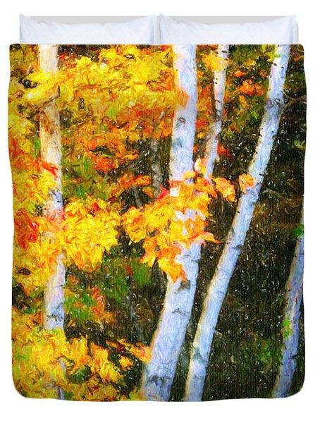Birch Trees Duvet Cover by Verena Matthew
