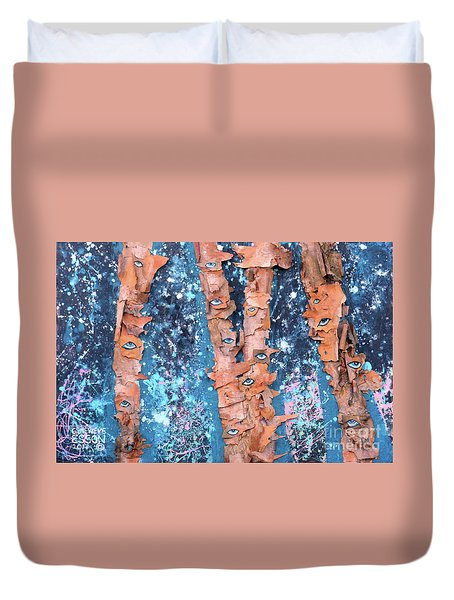 Duvet Cover featuring the mixed media Birch Trees With Eyes by Genevieve Esson