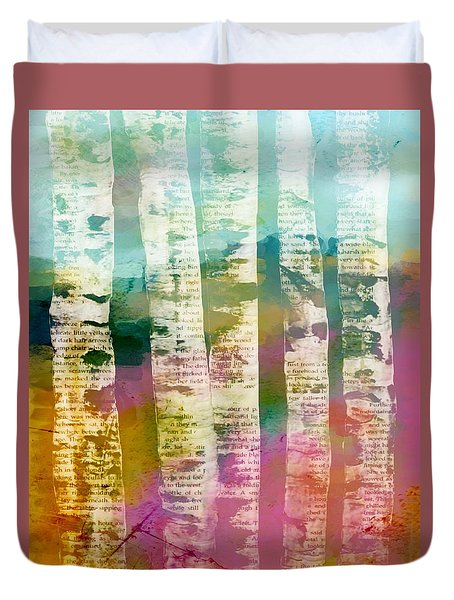 Duvet Cover featuring the mixed media Birch Trees by Lisa Noneman