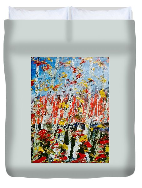 Birch With Foilage - Fall Duvet Cover