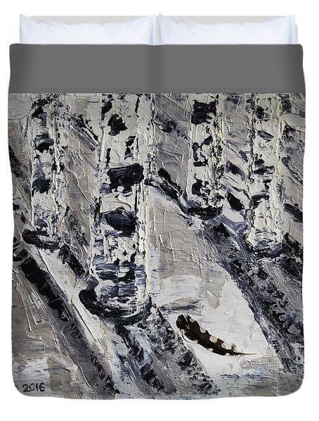 Birches And Snowy Shadows Duvet Cover by Valerie Ornstein
