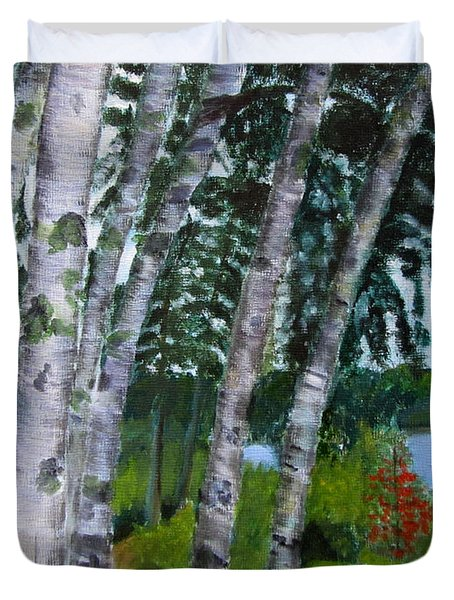 Duvet Cover featuring the painting Birches At First Connecticut Lake by Linda Feinberg