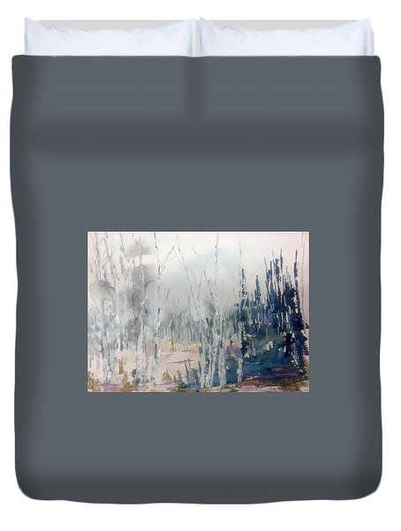 Birches In Haze  Naim's Enchatned Forest Duvet Cover