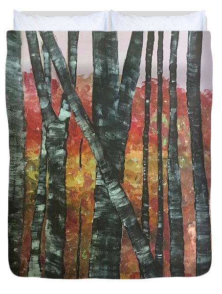 Birches In The Fall Duvet Cover
