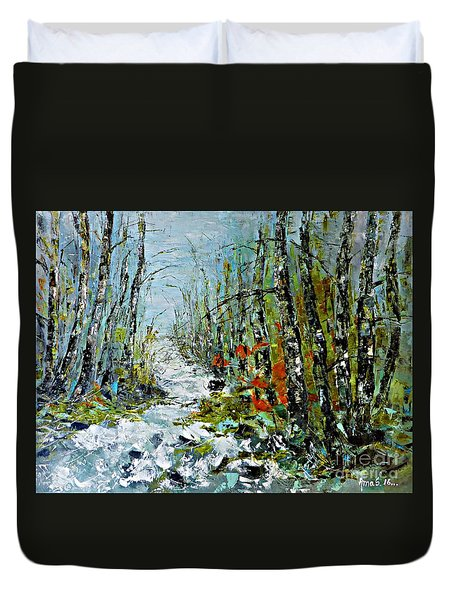 Birches Near Waterfall Duvet Cover by AmaS Art