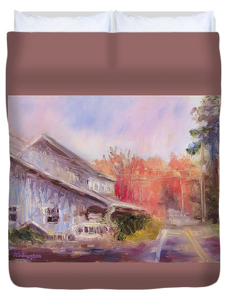Duvet Cover featuring the painting Birchwood by Jason Williamson