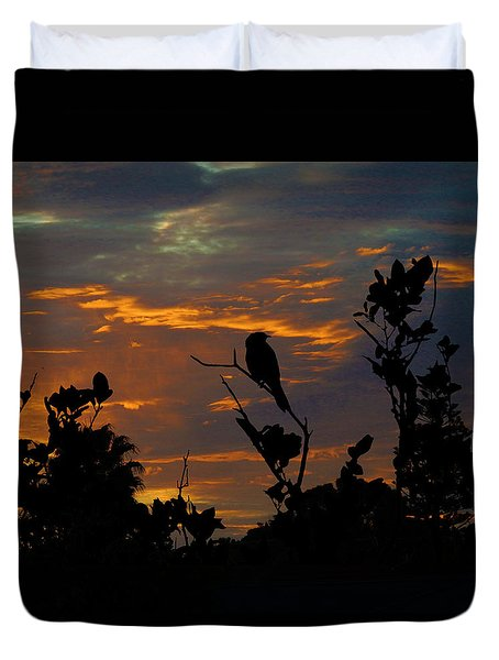 Bird At Sunset Duvet Cover
