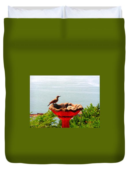 Bird Bathing @ Port Of Tacoma Washington Duvet Cover by Sadie Reneau