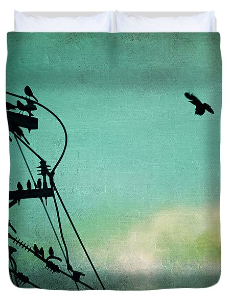 Duvet Cover featuring the photograph Bird City Revisited by Trish Mistric