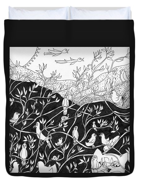 Bird Convention Duvet Cover