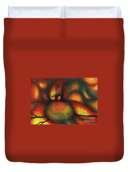 Duvet Cover featuring the painting Bird by Fanny Diaz