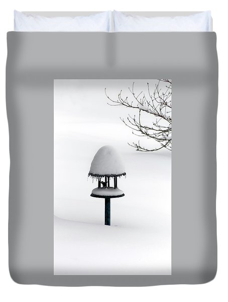 Bird Feeder In Snow Duvet Cover