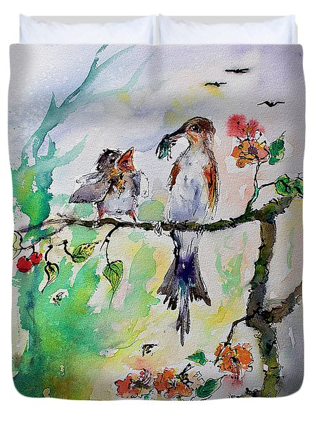 Bird Feeding Baby Watercolor Duvet Cover