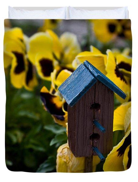 Bird House And Pansey Duvet Cover