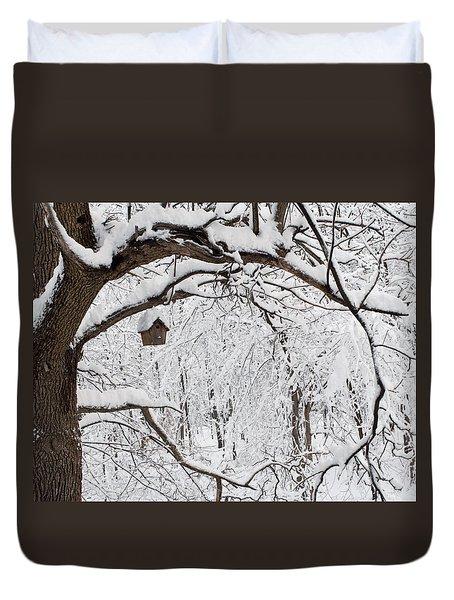 Bird House In Snow Duvet Cover