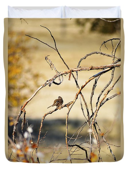 Duvet Cover featuring the photograph Bird In A Bush by Pamela Patch