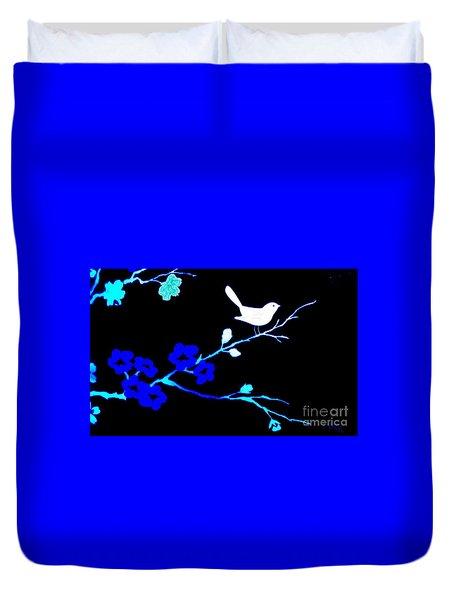 Bird In A Flower Tree Abstract Duvet Cover by Marsha Heiken