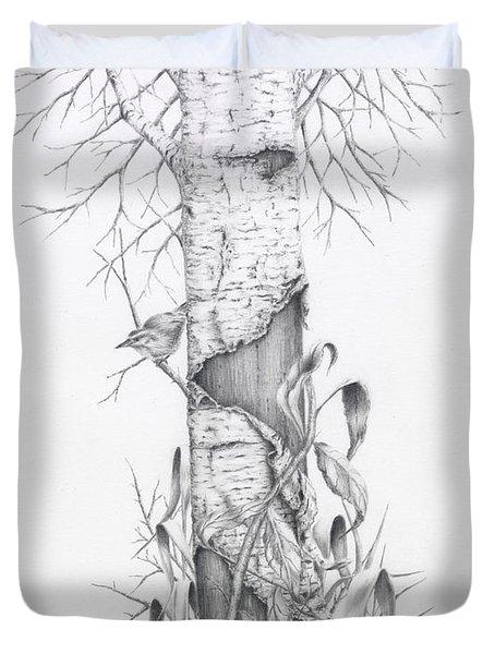 Bird In Birch Tree Duvet Cover