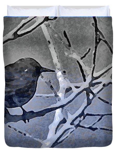 Bird In Digital Blue Duvet Cover by Lenore Senior
