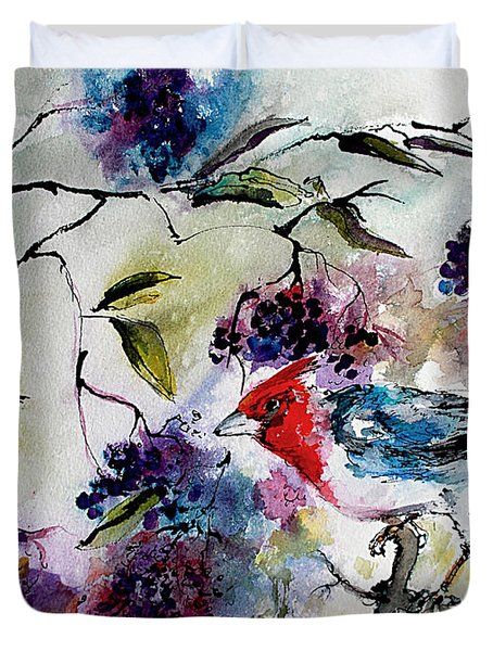 Duvet Cover featuring the painting Bird In Elderberry Bush Watercolor by Ginette Callaway