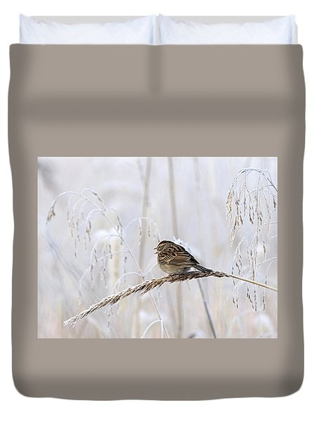 Bird In First Frost Duvet Cover