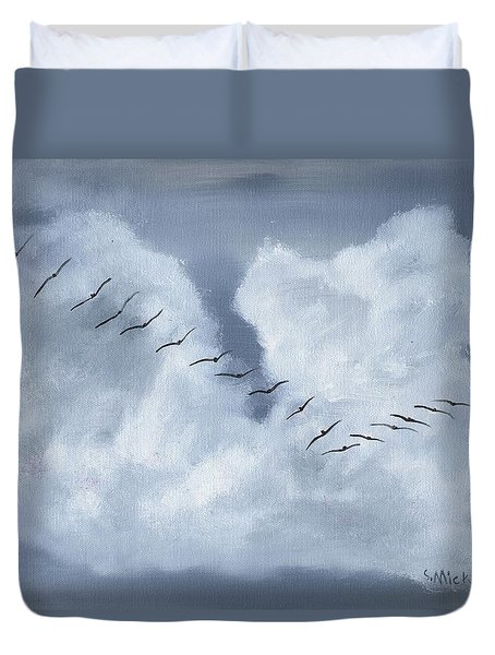 Duvet Cover featuring the painting Birds In Flight by Sharon Mick