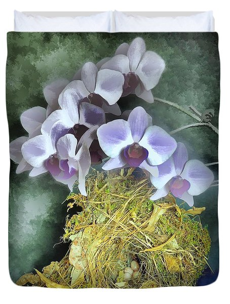 Duvet Cover featuring the photograph Bird Nest And Watercolor Orchids by Renee Trenholm