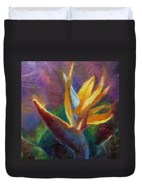 Duvet Cover featuring the painting Bird Of Paradise - Tropical Hawaiian Flowers by Karen Whitworth