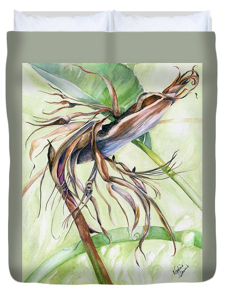 Bird Of Paradise, A Faded Beauty Duvet Cover