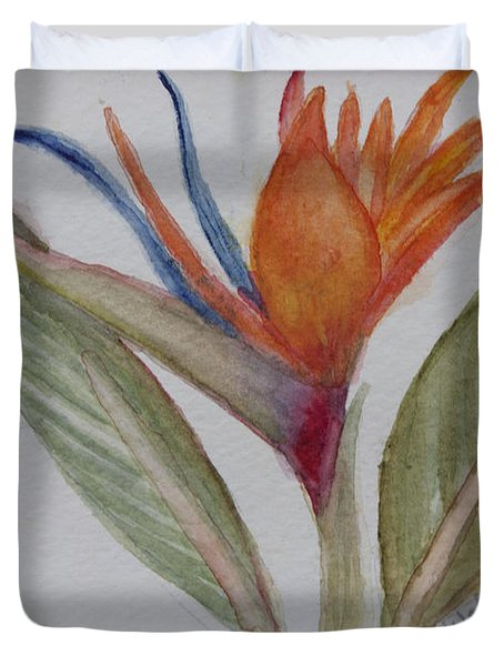 Duvet Cover featuring the painting Bird Of Paradise by Donna Walsh