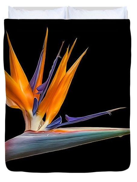 Bird Of Paradise Flower On Black Duvet Cover