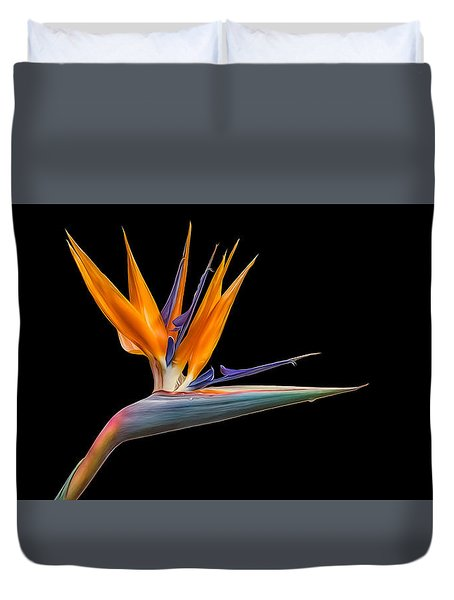 Bird Of Paradise Flower On Black Duvet Cover by Rikk Flohr