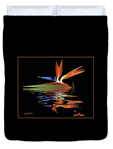 Bird Of Paradise On Water Duvet Cover