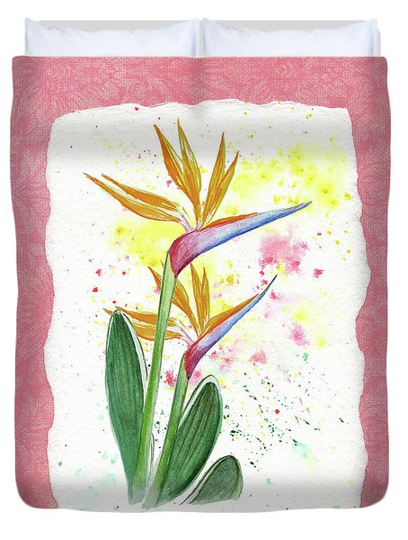 Duvet Cover featuring the painting Bird Of Paradise Watercolor Splashes by Irina Sztukowski