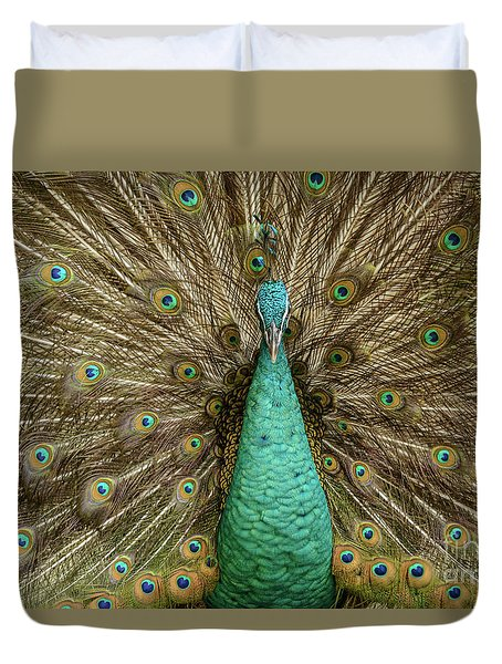Duvet Cover featuring the photograph Peacock by Werner Padarin