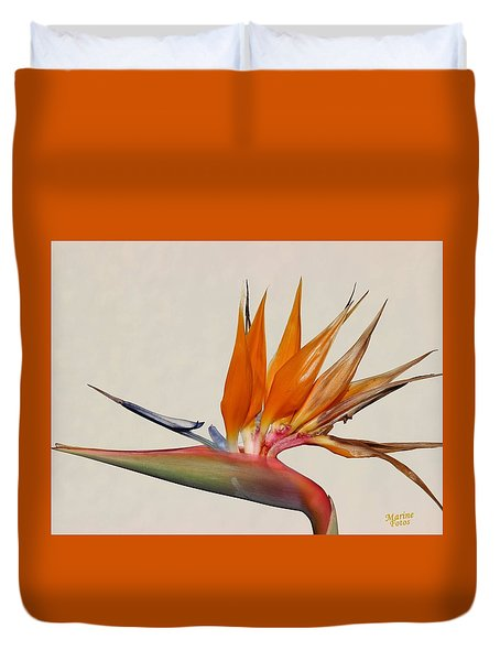 Bird Of Paradise With White Background Duvet Cover