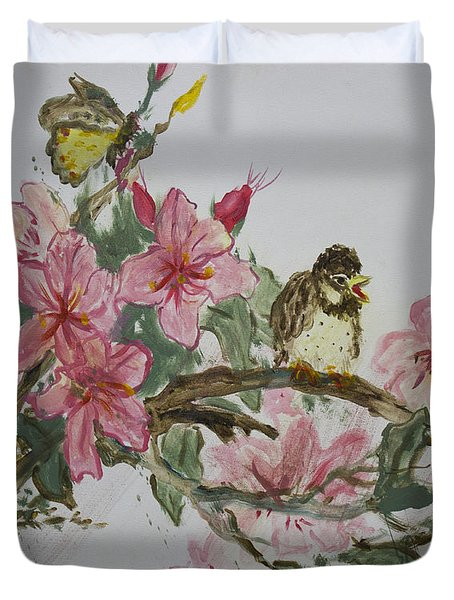Duvet Cover featuring the painting Bird On Blossoms by Avonelle Kelsey