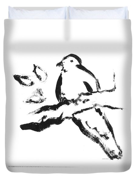 Bird On Branch Bw Duvet Cover