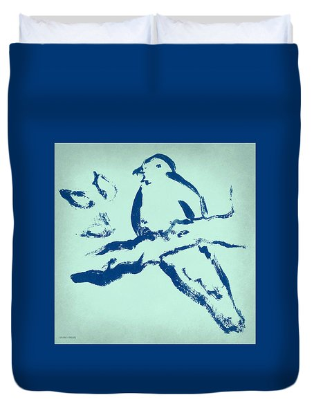 Bird On Branch In Blue Duvet Cover