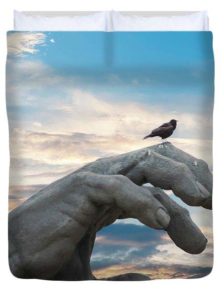 Bird On Hand Duvet Cover